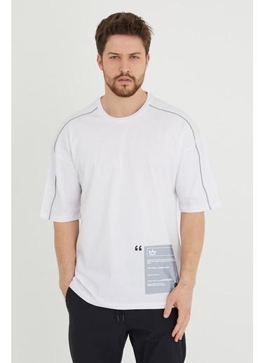 XHAN Lila Biye Detaylı Salaş T-Shirt 1Kxe1-44635-26 Beyaz
